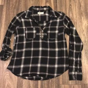 Hollister black checked flannel shirt